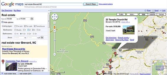 Google Maps integrates Real Estate Listings