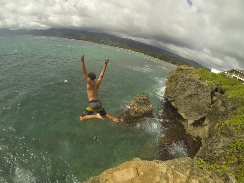 Laie Point Cliff Jump, height, north shore, oahu
