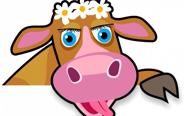 cartoon cow with flowers