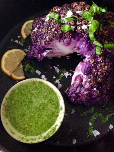 Purple Roasted Cauliflower with Mint-Basil Chimichurri - Real Food with Dana
