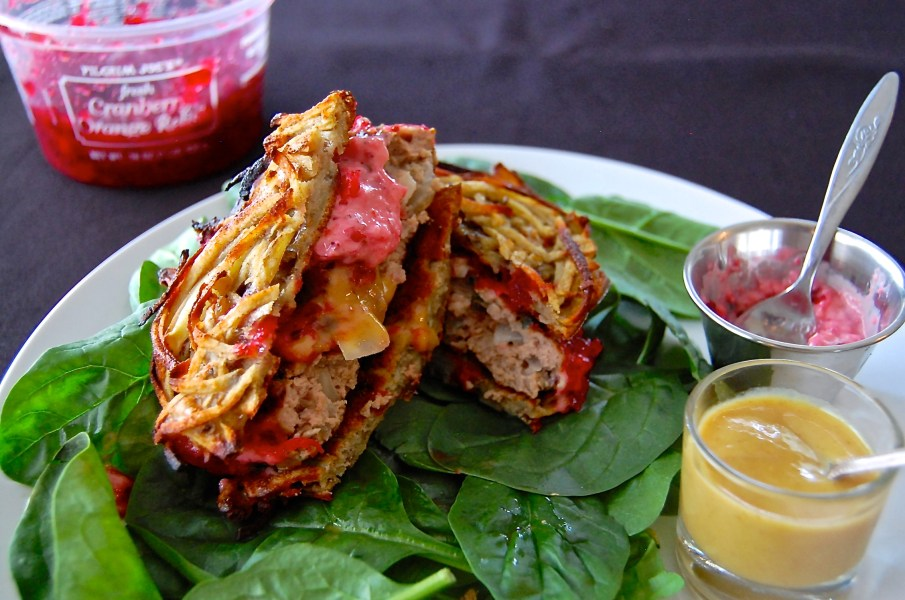 Turkey Burgers w/Cranberry Aioli & Sweet Potato Buns - Real Food with Dana
