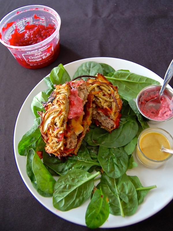 Thanksgiving Turkey Burgers w/Cranberry Aioli & Sweet Potato Buns - Real Food with Dana