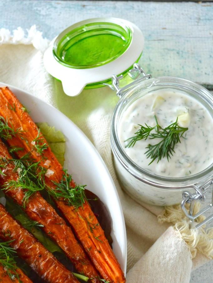 Dill Roasted Carrots & Tzatziki Sauce