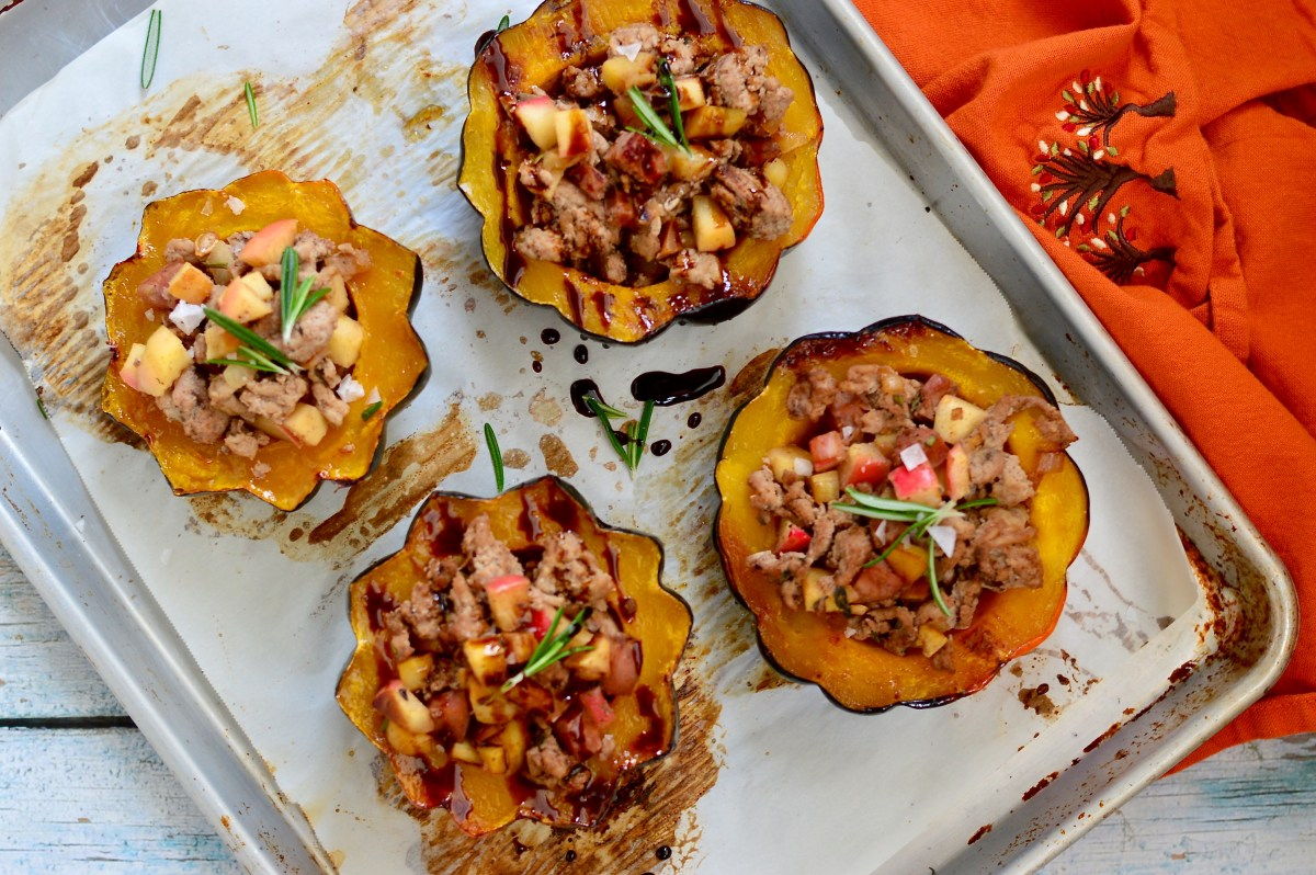 Spiced Apple Stuffed Acorn Squash
