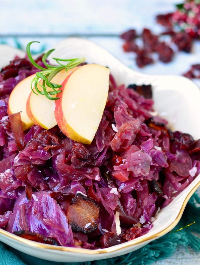 Bacon-Braised Red Cabbage with Apples