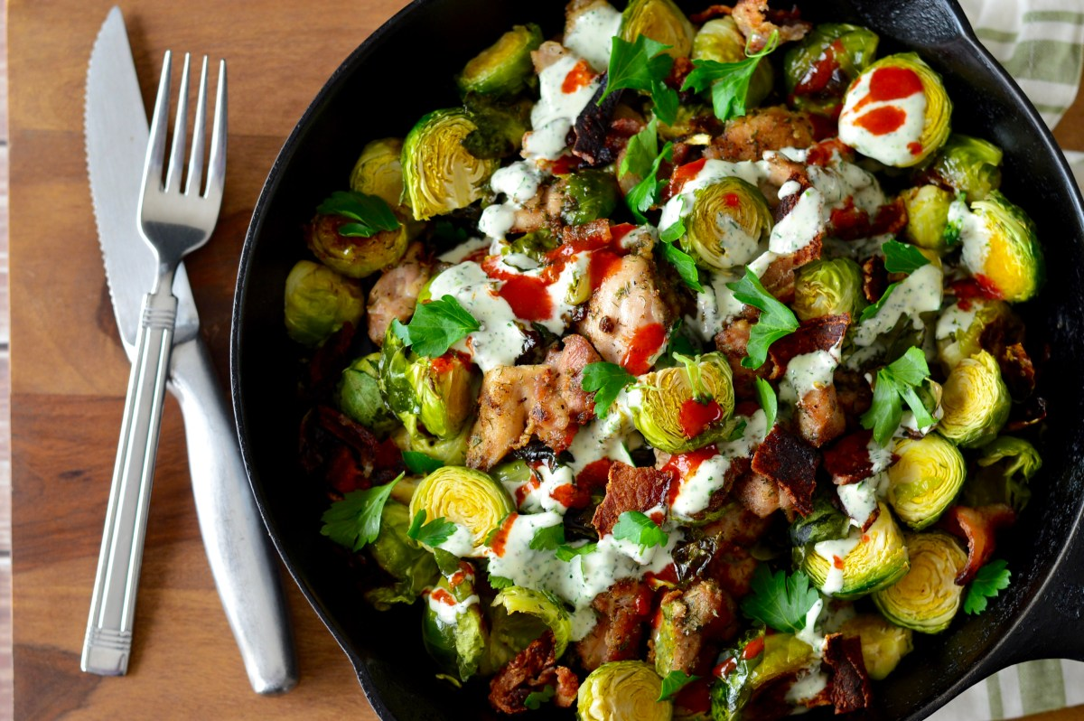 Buffalo Chicken, Bacon & Ranch Skillet with Roasted Brussels Sprouts