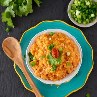 Red Cashew Coconut Curry Cauliflower Rice
