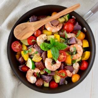 One-Pan Greek Summer Shrimp Skillet