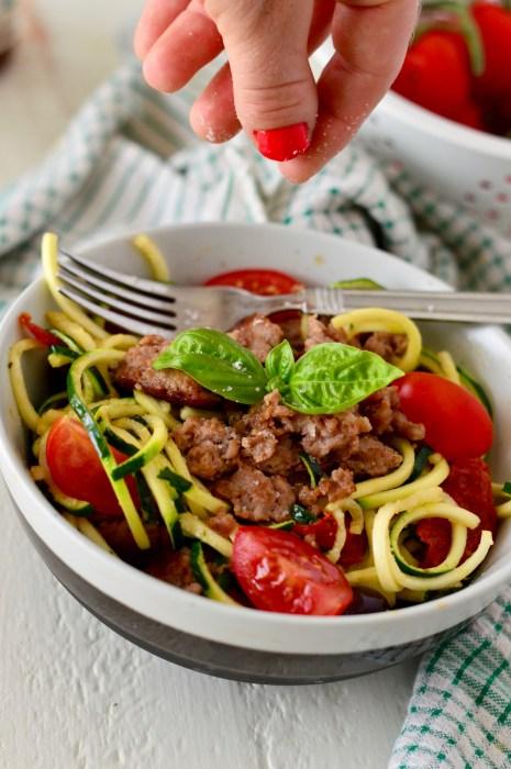 Mediterranean Zucchini Pasta w/Chicken Sausage & Truffle Salt | Real Food with Dana
