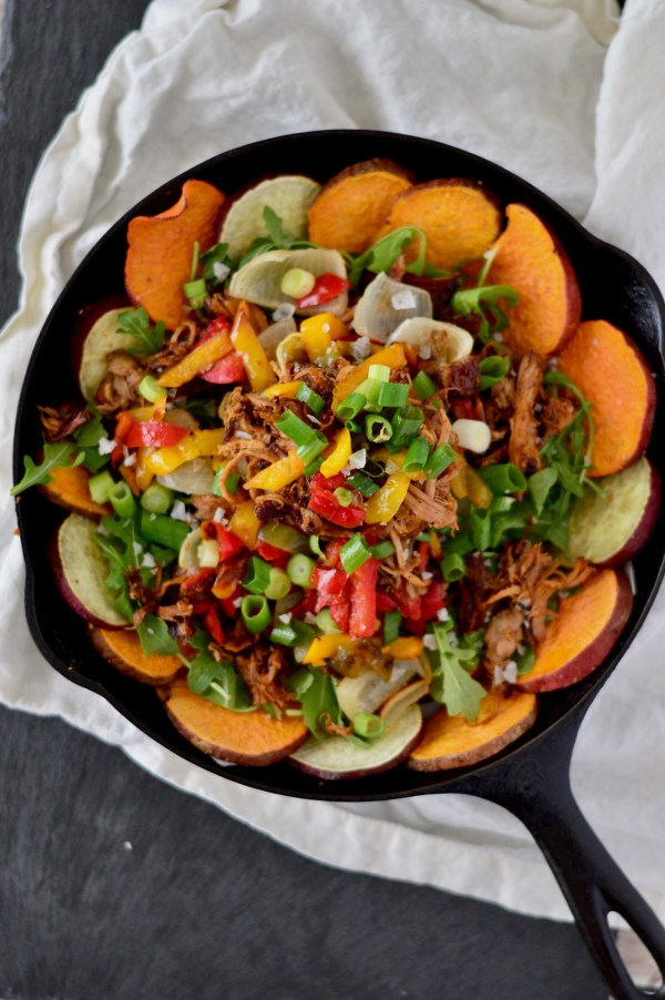 Pulled Pork Loaded Sweet Potato Nachos | Real Food with Dana