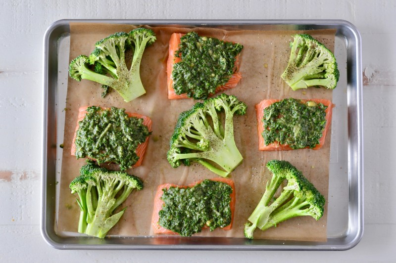 One-Pan Herb Crusted Salmon with Roasted Broccoli Steaks : the Whole30 Cookbook Review   Real Food with Dana