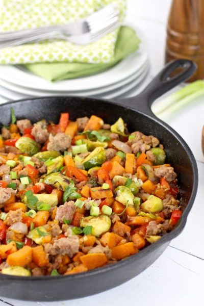 Brussels Sprouts Sweet Potato Sausage Hash | The Real Food Dietitians