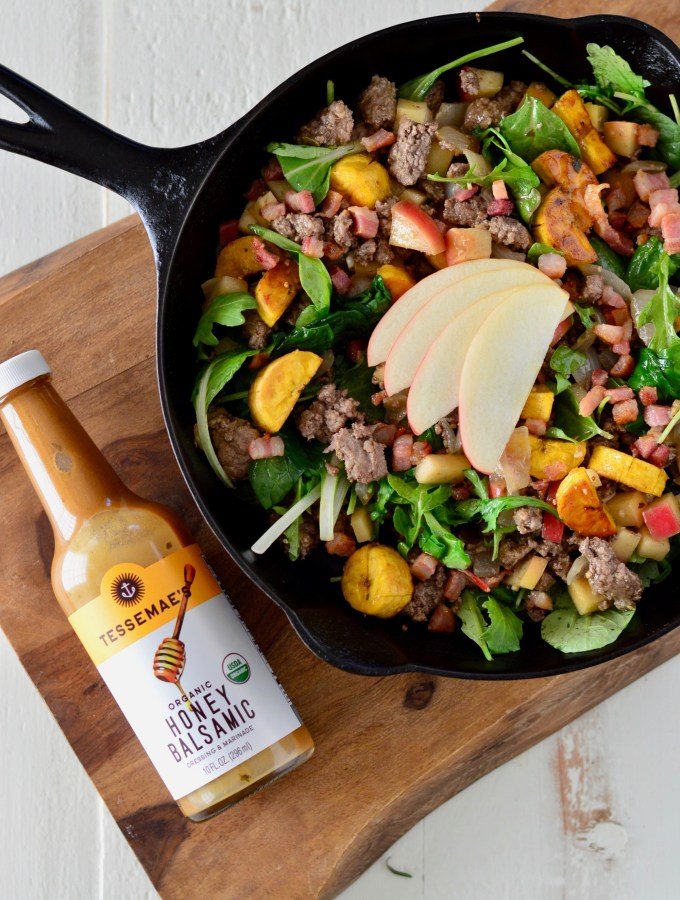 Honey Balsamic Skillet with Plantains, Apples & Prosciutto