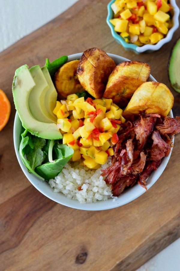 Pulled Pork & Cauliflower Rice Bowl with Mango Salsa | Real Food with Dana