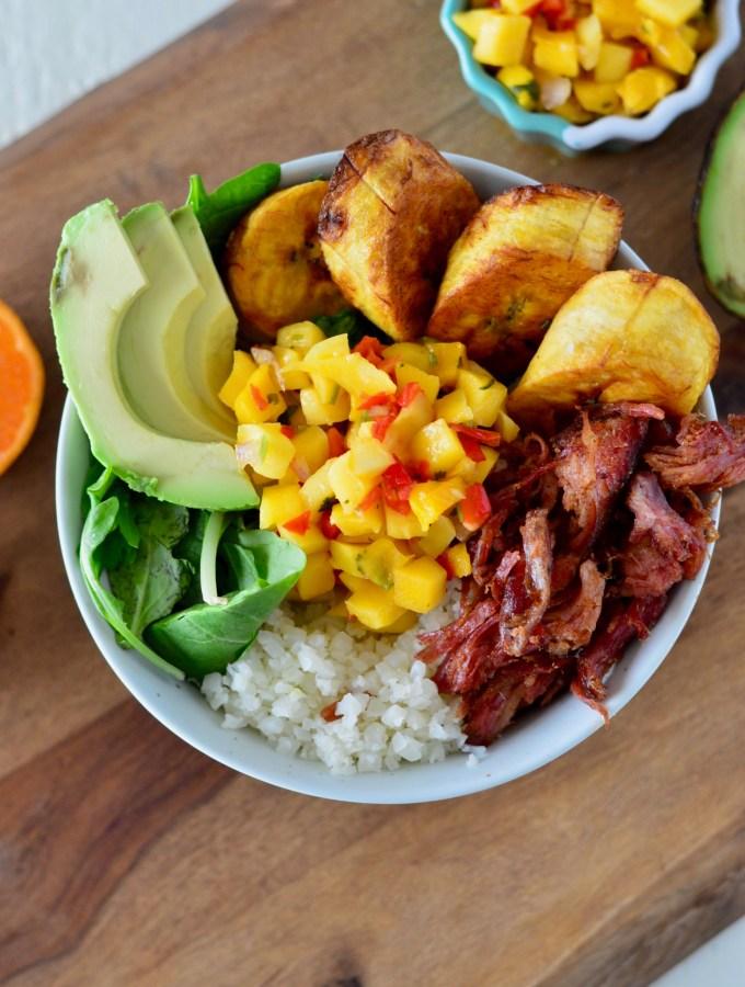 Pulled Pork & Plantain Cauliflower Rice Bowl with Mango Salsa
