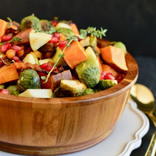 Roasted Brussels Sprouts & Butternut Squash Salad with Maple-Peanut Dressing