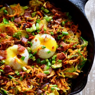 Sweet Potato & Brussels Sprouts Hash with Bacon (Whole30)