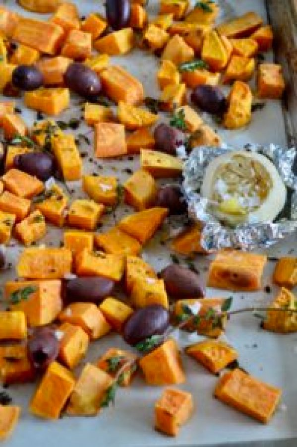 Roasted Garlic Sweet Potatoes with Olives & Thyme | Real Food with Dana