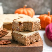 Paleo Vegan Frosted Pumpkin Bars