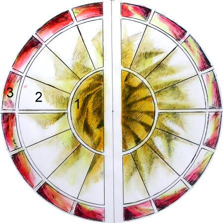 Coloured sketch of literary agent's rose window