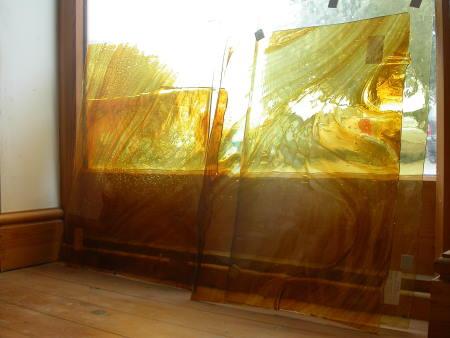 Hand-made streaky amber