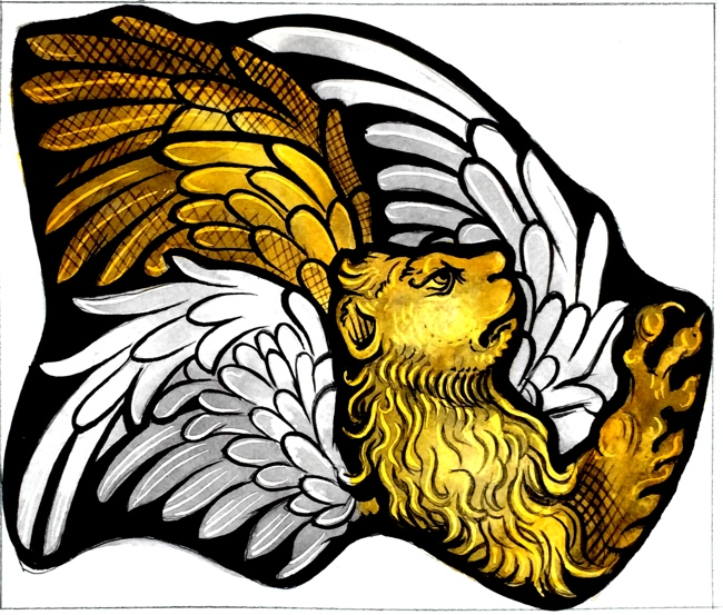 Design for winged lion in stained glass