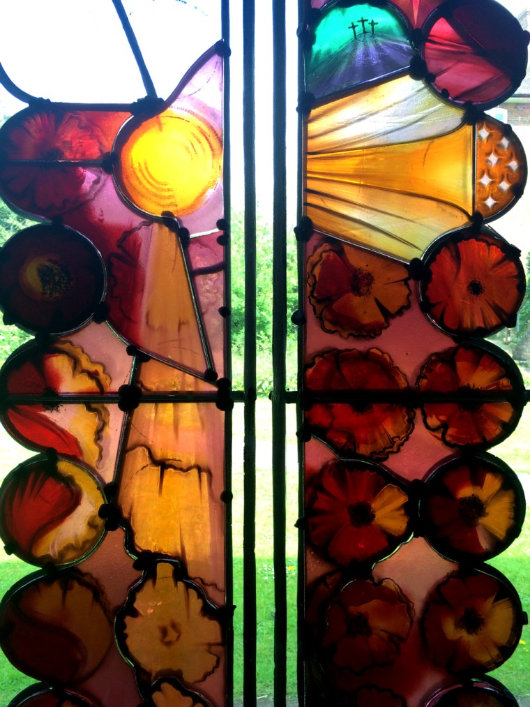 Painted and etched stained glass in progress