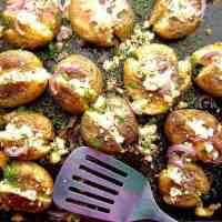 Roasted Greek Potatoes Recipe With Feta Cheese And Oregano