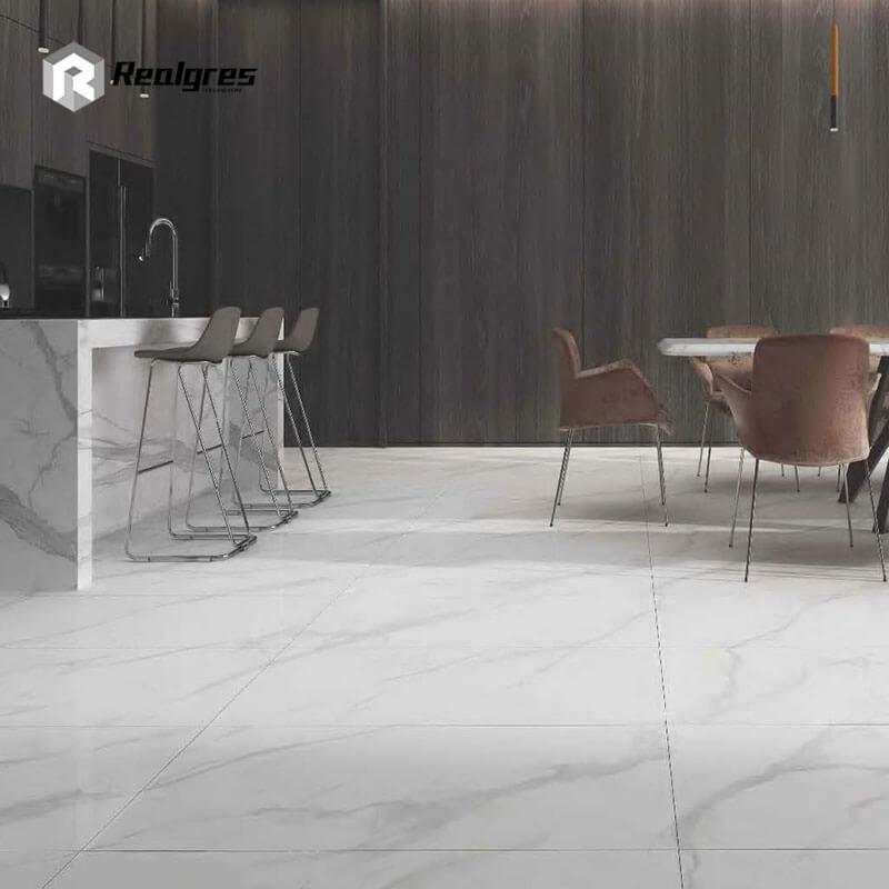 white marble look porcelain tile