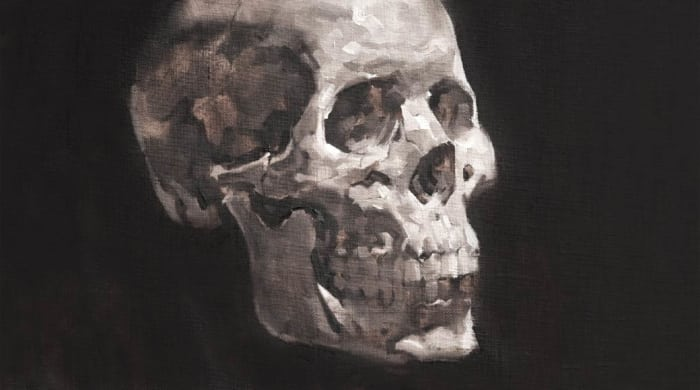 Online portrait painting course grisaille painting of a skull