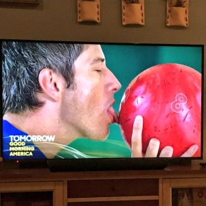 arie kisses bowling ball