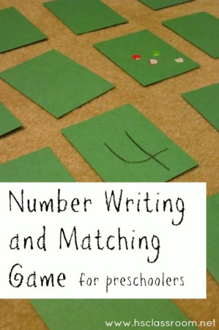 Number Writing and Matching Game for Preschoolers   The Homeschool Classroom