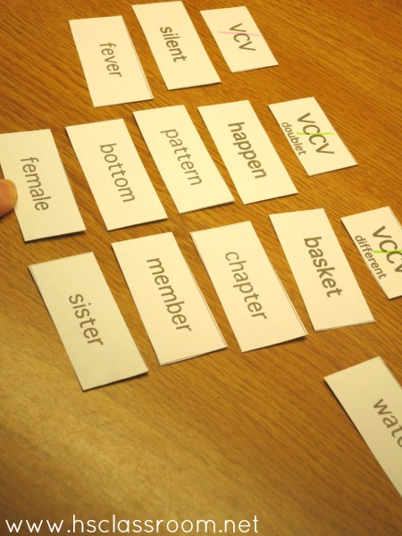 sorting word game for spelling practice