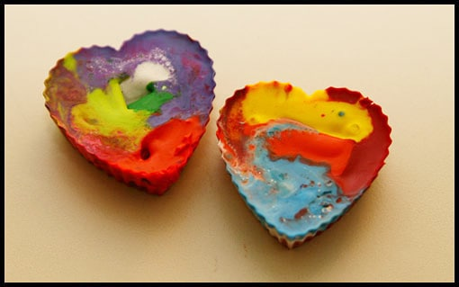 Step-by-step directions for making your own rainbow heart crayons