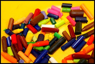 Broken Crayons Ready for Making Upcycled Rainbow Crayons