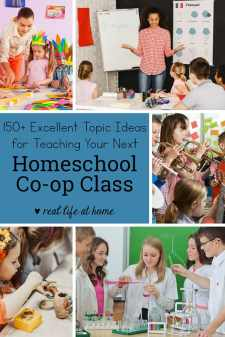 Organized by subject matter, this post contains over 150 ideas for homeschool co-op classes. There are homeschool co-op class ideas for all age levels and abilities.