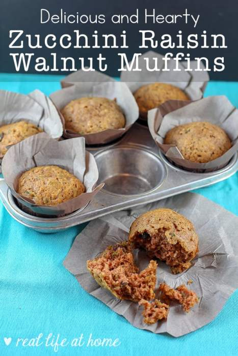 Recipe for Hearty and Delicious Zucchini Muffins with Raisins and Walnuts