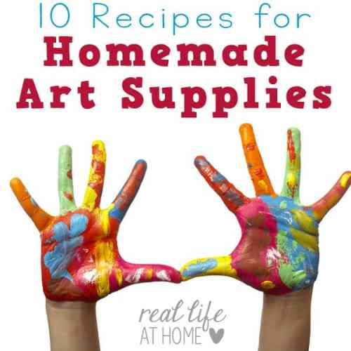 Want to make homemade art supplies at home? Here are recipes for ten homemade art supplies you can make today! | Real Life at Home