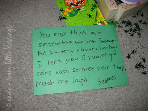 note from a leprechaun