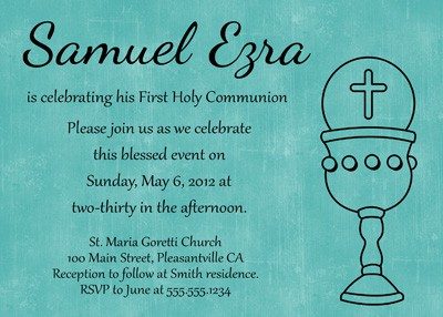 First Communion Chalice Invitation in Blue