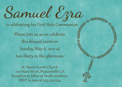 First Communion Rosary Invitation in Blue