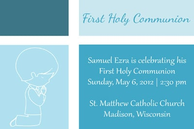 First Communion Invitation in Color Blocked Blue with First Communion Boy