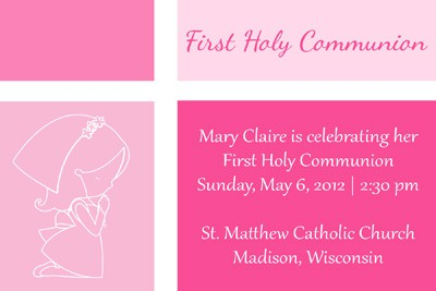 Pink Color Blocked First Communion Invitation with First Communion Girl
