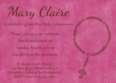 First Communion Rosary Invitation in Pink