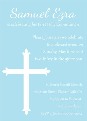First Communion, Baptism, or Confirmation Invitation in Blue