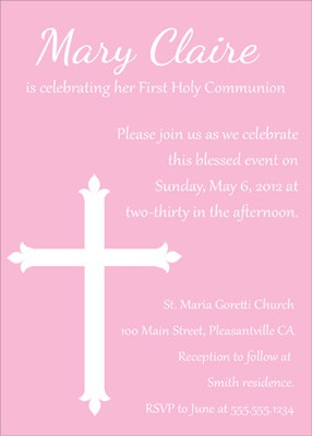 Simple Cross Design Invitation in Pink