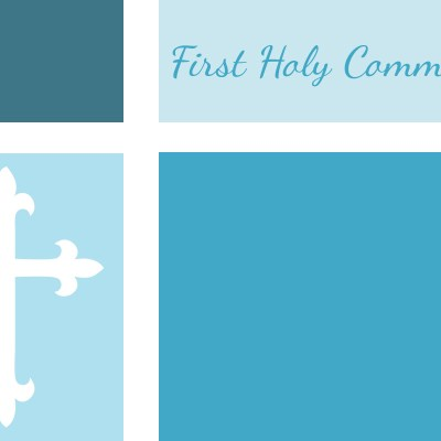 first communion invite color blocked blue