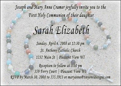 Free First Communion Rosary Invitation