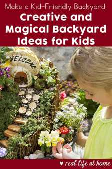 Wondering how to make a kid-friendly backyard? Enjoy the magic of spring with these backyard ideas for kids including growing a fairy ring, creating and installing a fairy door, making toad homes, and more.