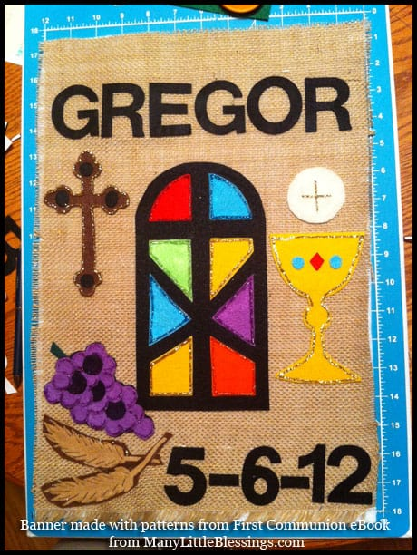 First Communion Banner using patterns from ebook